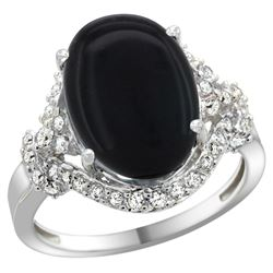Natural 3.63 ctw onyx & Diamond Engagement Ring 14K White Gold - REF-82X2A