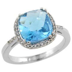 Natural 4.11 ctw Swiss-blue-topaz & Diamond Engagement Ring 10K White Gold - REF-34K3R