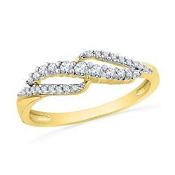 0.26 CTW Diamond Crossover Ring 10KT Yellow Gold - REF-24F2N