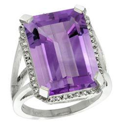 Natural 15.06 ctw amethyst & Diamond Engagement Ring 14K White Gold - REF-81N9G