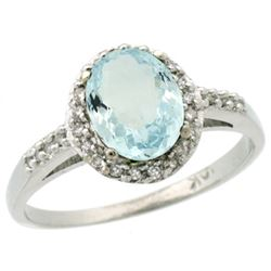 Natural 1.13 ctw Aquamarine & Diamond Engagement Ring 14K White Gold - REF-36V2F