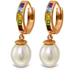 Genuine 9 ctw Pearl, Amethyst & Blue Topaz Earrings Jewelry 14KT Rose Gold - REF-43K2V