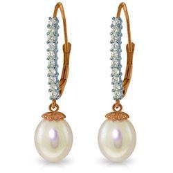 Genuine 8.3 ctw Pearl & Diamond Earrings Jewelry 14KT Rose Gold - REF-52A7K