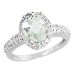 Natural 1.91 ctw Green-amethyst & Diamond Engagement Ring 14K White Gold - REF-41F3N