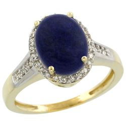 Natural 2.49 ctw Lapis & Diamond Engagement Ring 14K Yellow Gold - REF-39H8W