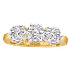 1.5 CTW Diamond Triple Flower Cluster Ring 14KT Yellow Gold - REF-172W4K