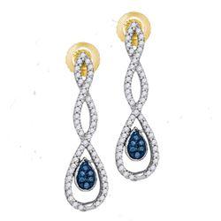 0.26 CTW Blue Color Diamond Dangle Earrings 10KT Yellow Gold - REF-26W9K
