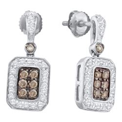 0.50 CTW Cognac-brown Color Diamond Rectangle Dangle Earrings 14KT White Gold - REF-67N4F