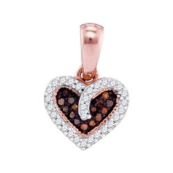 0.10 CTW Red Color Diamond Small Heart Love Pendant 10KT Rose Gold - REF-12W2K