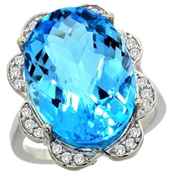 Natural 13.83 ctw swiss-blue-topaz & Diamond Engagement Ring 14K White Gold - REF-124H4W