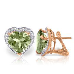 Genuine 6.48 ctw Green Amethyst & Diamond Earrings Jewelry 14KT Rose Gold - REF-101H4X
