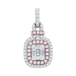 0.40 CTW Pink Diamond Square Cluster Fashion Pendant 18KT Rose Gold - REF-172M4H