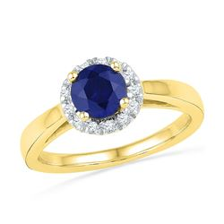 1.12 CTW Created Blue Sapphire Solitaire Ring 10KT Yellow Gold - REF-25W4K