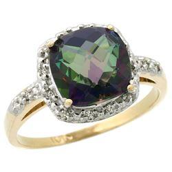 Natural 3.92 ctw Mystic-topaz & Diamond Engagement Ring 14K Yellow Gold - REF-35V2F