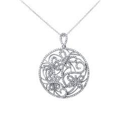 0.79 CTW Diamond Necklace 14K White Gold - REF-66R6K