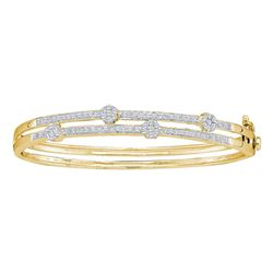 1 CTW Diamond Flower Cluster Bangle Bracelet 14KT Yellow Gold - REF-165M2H