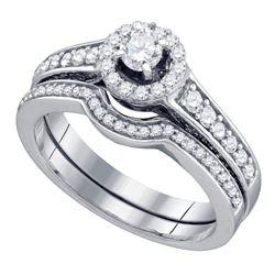 0.75 CTW Diamond Halo Bridal Engagement Ring 14KT White Gold - REF-89K9W
