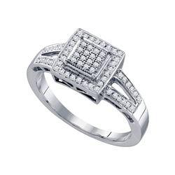 0.20 CTW Diamond Square Cluster Bridal Engagement Ring 10KT White Gold - REF-30F2N