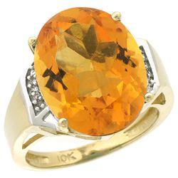 Natural 11.02 ctw Citrine & Diamond Engagement Ring 14K Yellow Gold - REF-65W8K