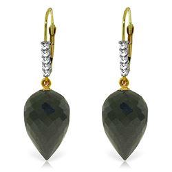Genuine 24.65 ctw Black Spinel & Diamond Earrings Jewelry 14KT Yellow Gold - REF-46Z7N