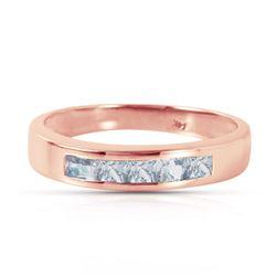 Genuine 0.50 ctw Aquamarine Ring Jewelry 14KT Rose Gold - REF-47P2H