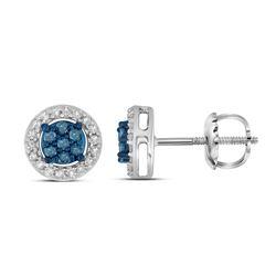 0.25 CTW Blue Color Diamond Cluster Stud Screwback Earrings 10KT White Gold - REF-18X7Y