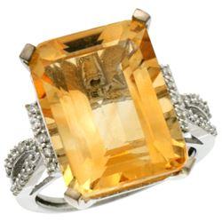 Natural 12.14 ctw Citrine & Diamond Engagement Ring 10K White Gold - REF-53W2K