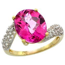 Natural 6.45 ctw pink-topaz & Diamond Engagement Ring 14K Yellow Gold - REF-54M3H