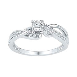 0.12 CTW Diamond Solitaire Bridal Engagement Ring 10KT White Gold - REF-19H4M