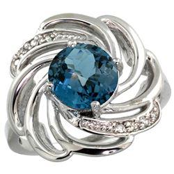Natural 2.25 ctw london-blue-topaz & Diamond Engagement Ring 14K White Gold - REF-58N4G