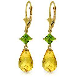 Genuine 11 ctw Citrine & Peridot Earrings Jewelry 14KT Yellow Gold - REF-39K3V