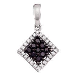 0.30 CTW Black Color Diamond Diagonal Square Pendant 10KT White Gold - REF-14H9M