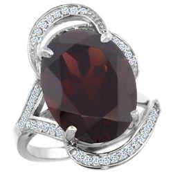 Natural 11.23 ctw garnet & Diamond Engagement Ring 14K White Gold - REF-118K9R