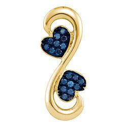 0.25 CTW Blue Color Diamond Heart Infinity Pendant 10KT Yellow Gold - REF-19F4N