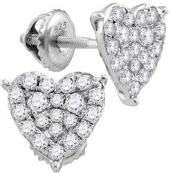 0.47 CTW Diamond Heart Stud Earrings 10KT White Gold - REF-34K4W