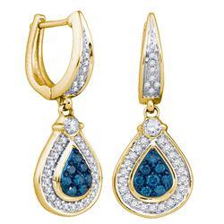 0.53 CTW Blue Color Diamond Teardrop Dangle Earrings 10KT Yellow Gold - REF-44W9K