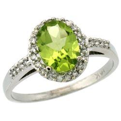 Natural 1.49 ctw Peridot & Diamond Engagement Ring 14K White Gold - REF-32F5N