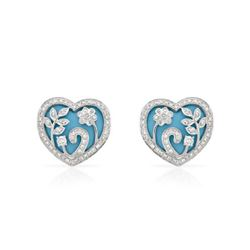 7.79 CTW Turquoise & Diamond Earrings 18K White Gold - REF-97W9H
