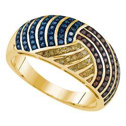 0.40 CTW Multicolor Diamond Fashion Ring 10KT Yellow Gold - REF-49M5H