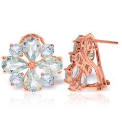 Genuine 4.85 ctw Aquamarine Earrings Jewelry 14KT Rose Gold - REF-72A3K