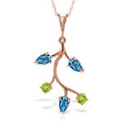 Genuine 0.95 ctw Blue Topaz & Peridot Necklace Jewelry 14KT Rose Gold - REF-32H2X