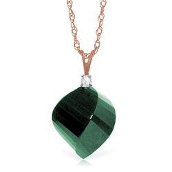 Genuine 15.3 ctw Green Sapphire Corundum & Diamond Necklace Jewelry 14KT Rose Gold - REF-31K4V