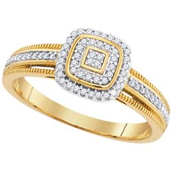 0.15 CTW Diamond Cluster Square Milgrain Ring 10KT Yellow Gold - REF-22Y4X