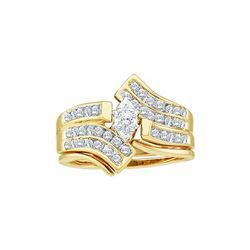 0.53 CTW Marquise Diamond Bridal Engagement Ring 14KT Yellow Gold - REF-79H4M