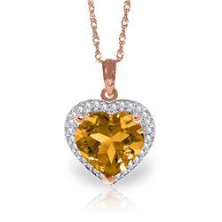 Genuine 3.24 ctw Citrine & Diamond Necklace Jewelry 14KT Rose Gold - REF-59V3W
