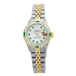 Rolex Pre-owned 26mm Womens Custom White Mother of Pearl Two Tone - REF-530W4Y