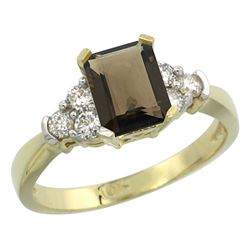 Natural 1.48 ctw smoky-topaz & Diamond Engagement Ring 10K Yellow Gold - REF-43H3W