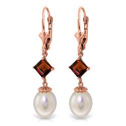 Genuine 9.5 ctw Pearl & Garnet Earrings Jewelry 14KT Rose Gold - REF-24P4H