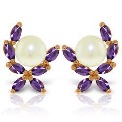 Genuine 3.25 ctw Pearl & Amethyst Earrings Jewelry 14KT Rose Gold - REF-30P2H