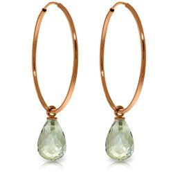 Genuine 4.5 ctw Green Amethyst Earrings Jewelry 14KT Rose Gold - REF-26Y2F